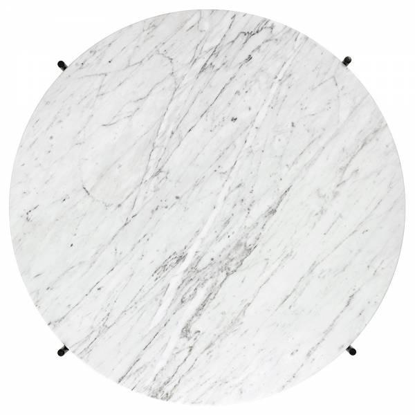 TS Round Coffee Table Medium - White Marble, Black