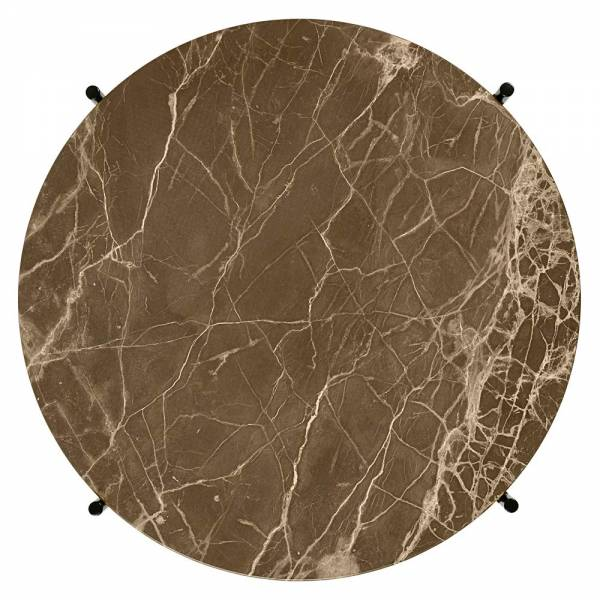 TS Round Coffee Table Small - Brown Marble, Brass