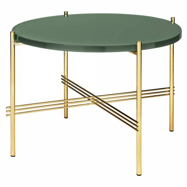 TS Round Coffee Table Small - Dusty Green Glass, Brass