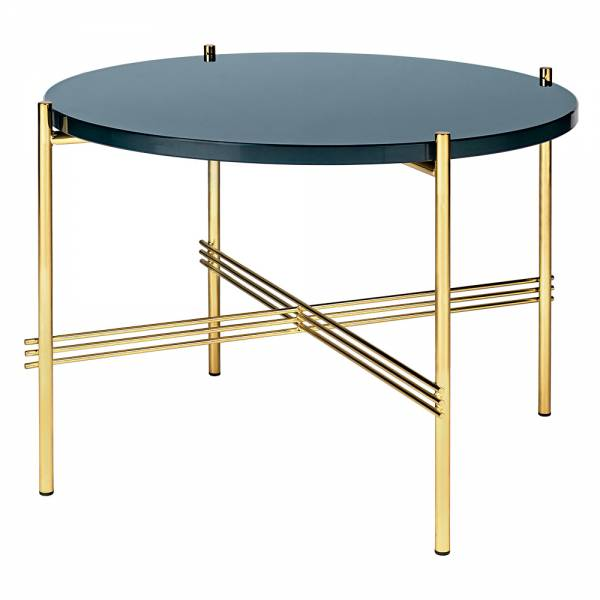 TS Round Coffee Table Small - Gray Blue Glass, Brass