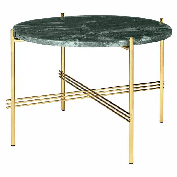 TS Round Coffee Table Small - Green Marble, Brass