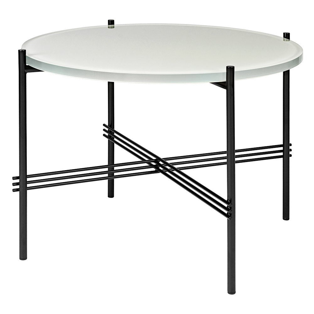 Ts Round Coffee Table Small Oyster White Glass Black Rouse Home