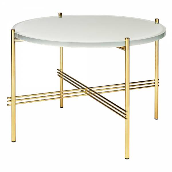 TS Round Coffee Table Small - Oyster White Glass, Brass