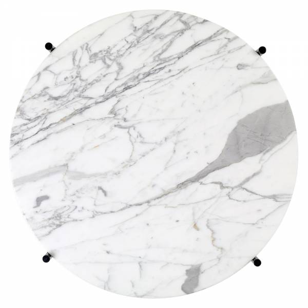 TS Round Coffee Table Small - White Marble, Brass