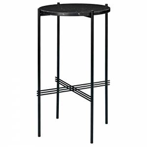 TS Round Console Table - Black Marble, Black