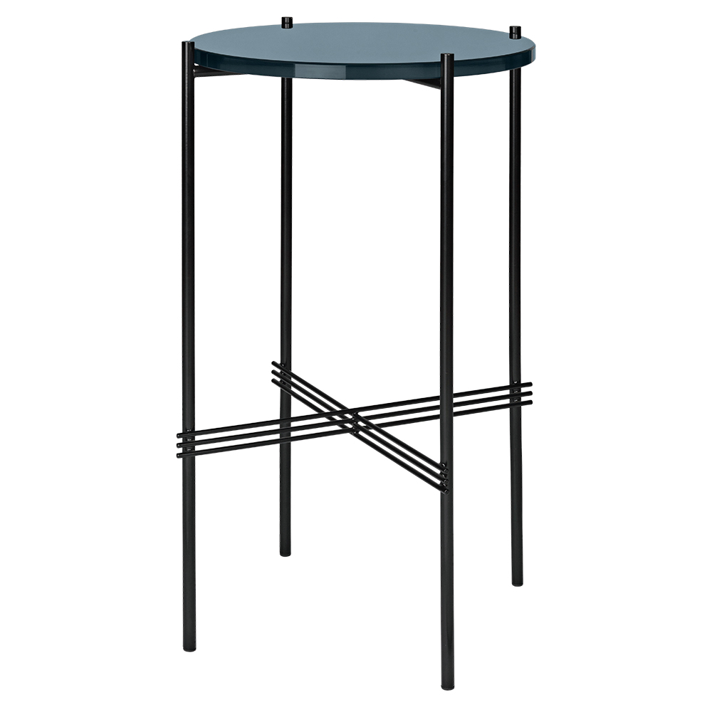 Ts Round Console Table Gray Blue Glass Black Rouse Home