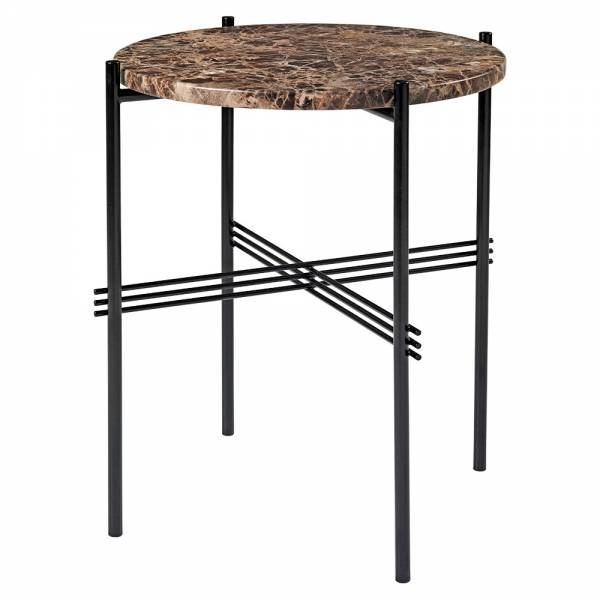 TS Side Table - Brown Marble, Black