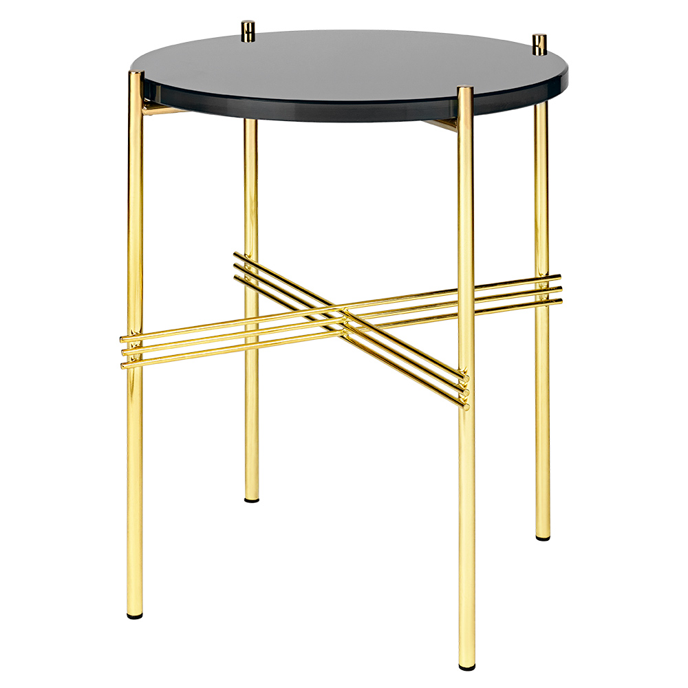 TS Side Table Graphite Black Glass Brass Rouse Home - Black and brass side table