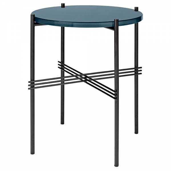 TS Side Table - Gray Blue Glass, Black