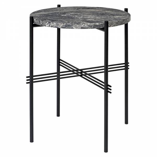 TS Side Table - Gray Marble, Black