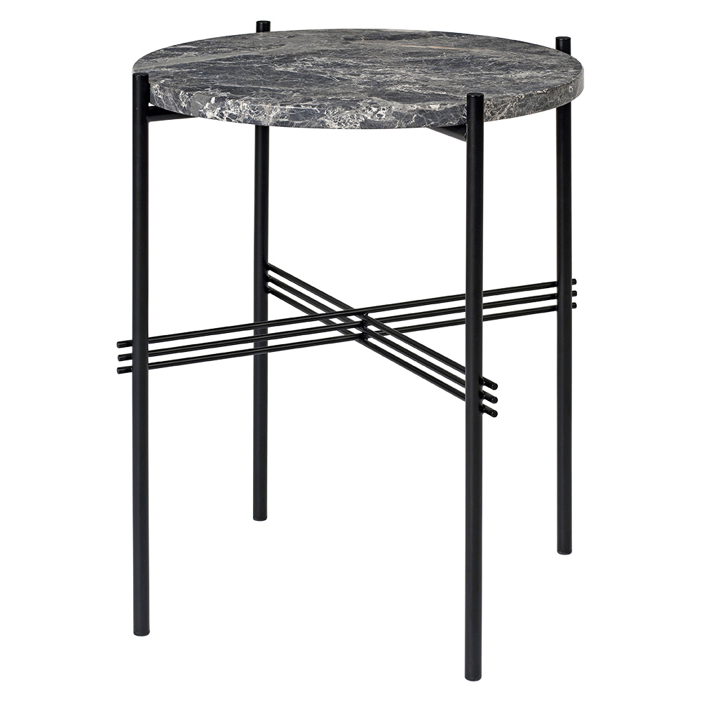 TS Side Table   Gray Marble, Black