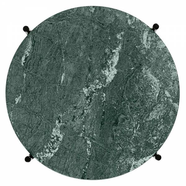 TS Side Table - Green Marble, Black