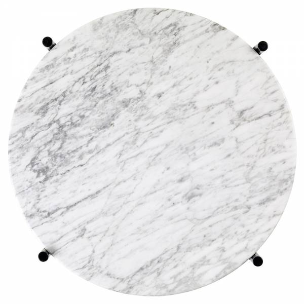 TS Side Table - White Marble, Black