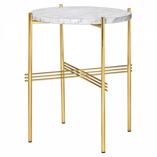 TS Side Table - White Marble, Brass