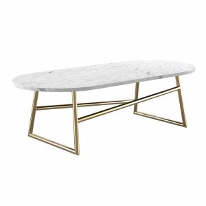 Algedi Coffee Table - White Marble, Brass
