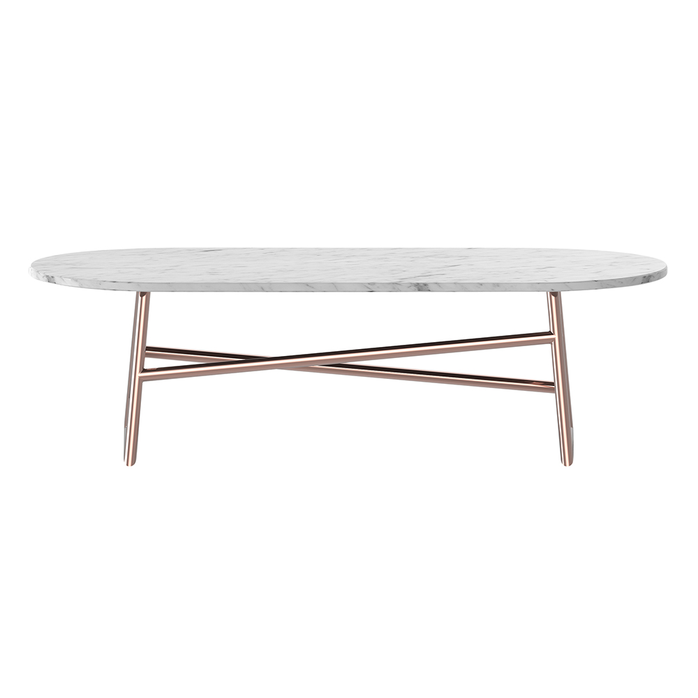 Marble Coffee Table With Copper Legs: White Marble, Copper