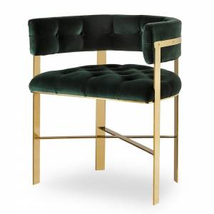 Art Dining Arm Chair Tufted - Green Velvet / Mirrored Brass