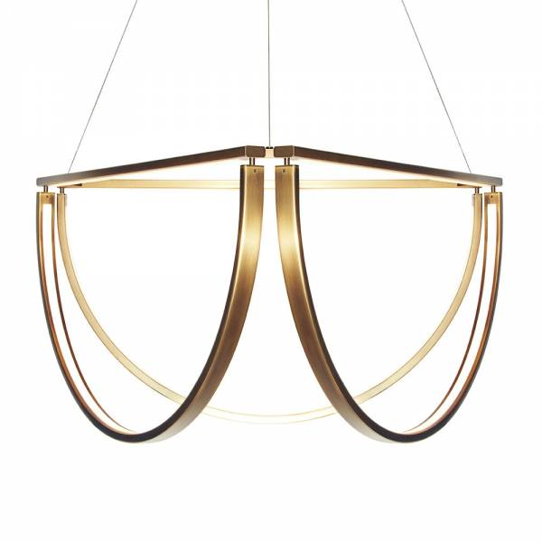 Chord Cluster Chandelier - Mottled Brass, LED 2800K | Rouse Home