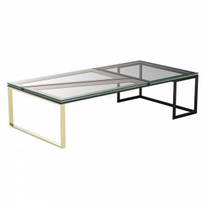 Hialeah Rectangle Coffee Table   Clear Glass. Black