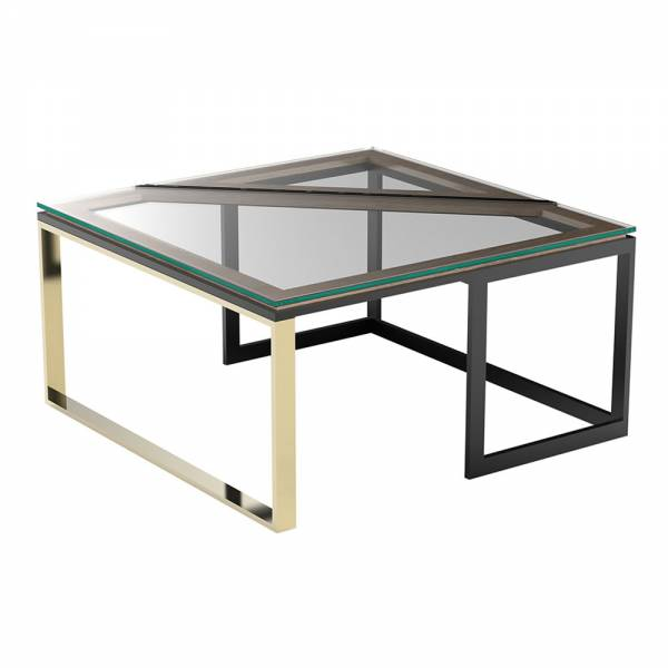 Hialeah Square Coffee Table   Clear Glass, Black