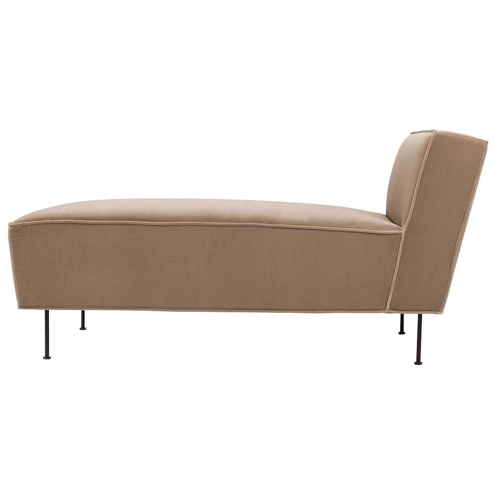 Modern Line Chaise Lounge Sofa - Beige Velvet, Black