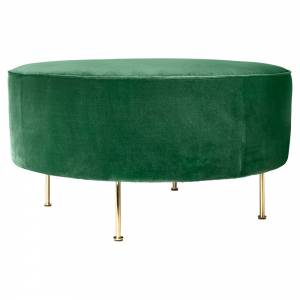 Modern Line Pouf Large - Green, Brass
