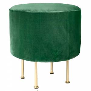 Modern Line Pouf Small - Green, Brass