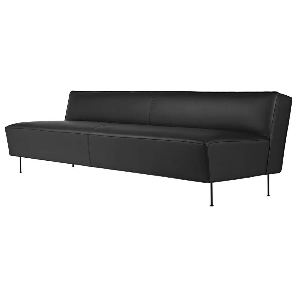Modern Line Sofa - Black Leather, Black