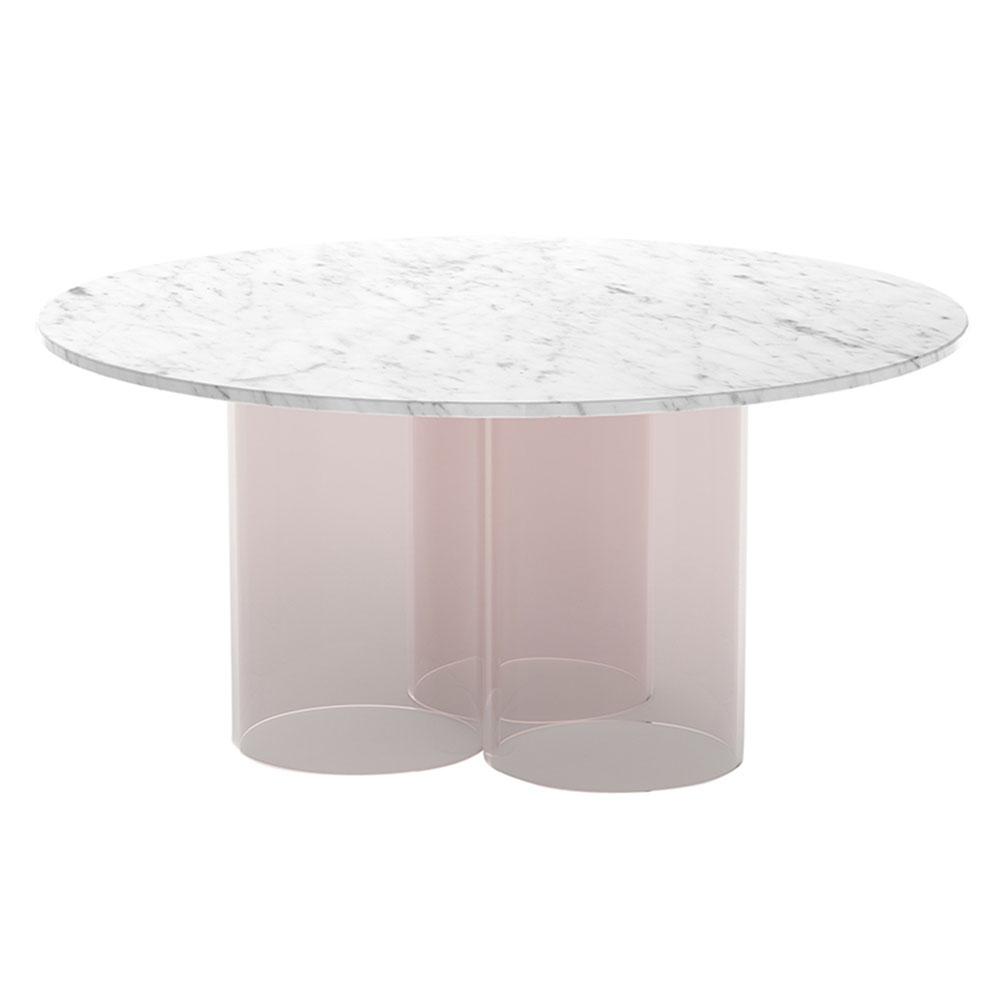 White Marble Coffee Table.Nunki Round Coffee Table White Marble Blush