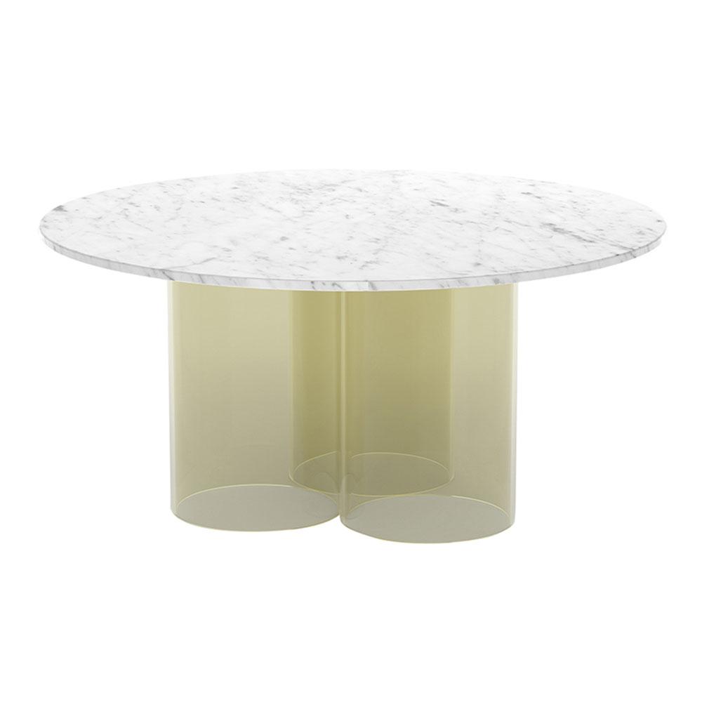 Nunki Round Coffee Table   White Marble, Gold