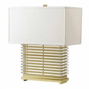 Stack Table Lamp - Brass, White Shade