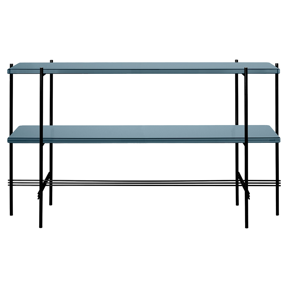 TS 2 Tier Console Table   Gray Blue Glass, Black