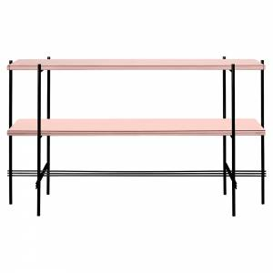 TS 2 Tier Console Table - Vintage Red Glass, Black