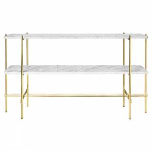 TS 2 Tier Console Table - White Marble, Brass