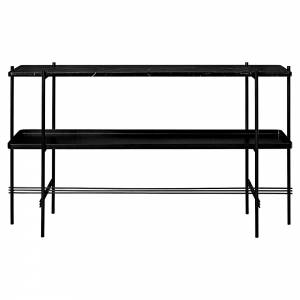 TS 2 Tier Console Table with Tray - Black Marble, Black
