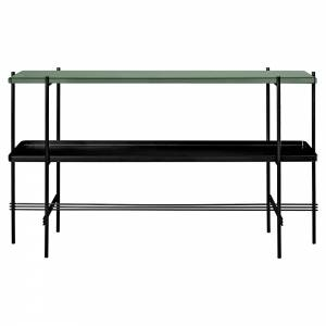 TS 2 Tier Console Table with Tray - Dusty Green Glass, Black