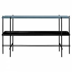 TS 2 Tier Console Table with Tray - Gray Blue Glass, Black