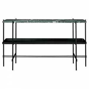 TS 2 Tier Console Table with Tray - Green Marble, Black
