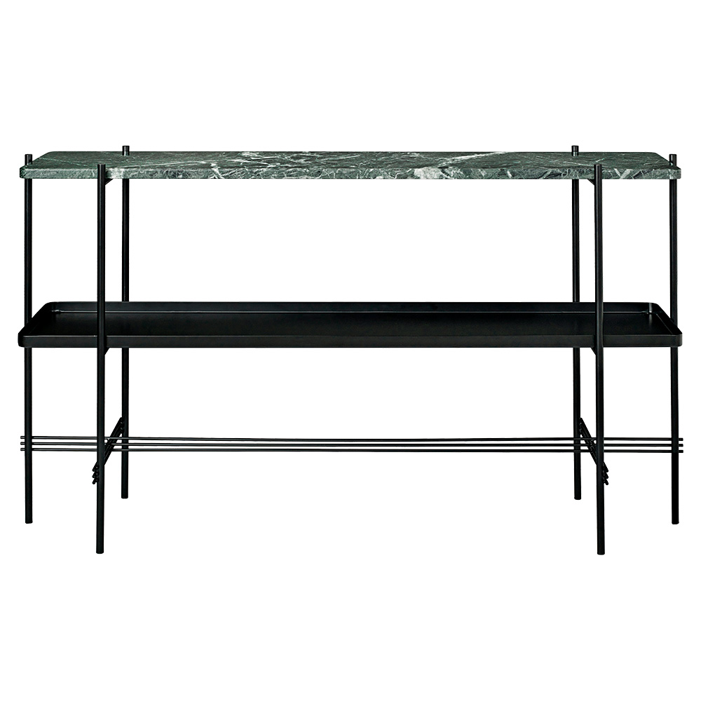 TS 2 Tier Console Table With Tray   Green Marble, Black