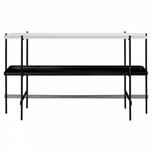 TS 2 Tier Console Table with Tray - Oyster White Glass, Black