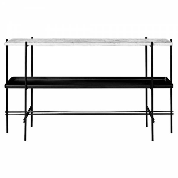 TS 2 Tier Console Table with Tray - White Marble, Black