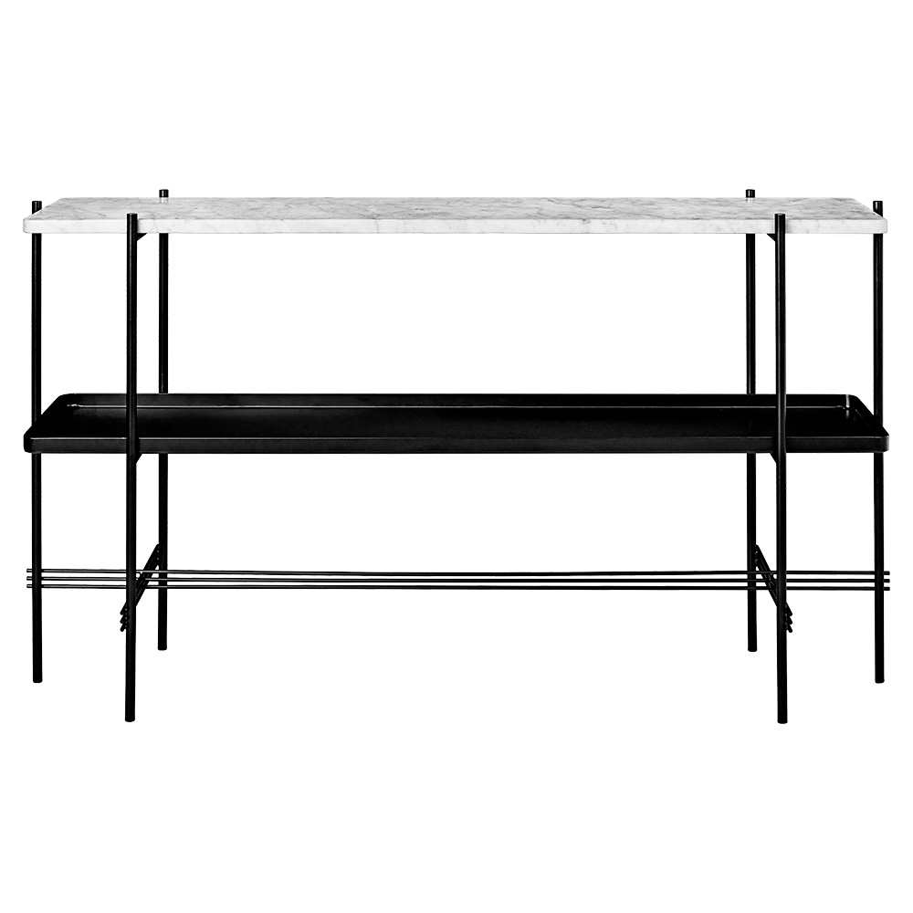Ts 2 Tier Console Table With Tray White Marble Black