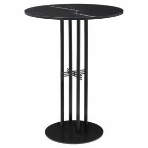 TS Column Bar Table - Black Marble, Black