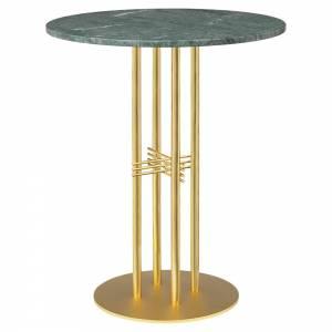 TS Column Bar Table - Green Marble, Brass