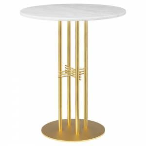 TS Column Bar Table - White Marble, Brass