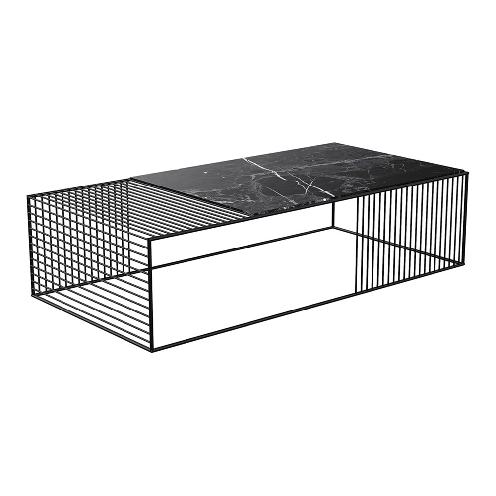 Wire Coffee Table Black Marble