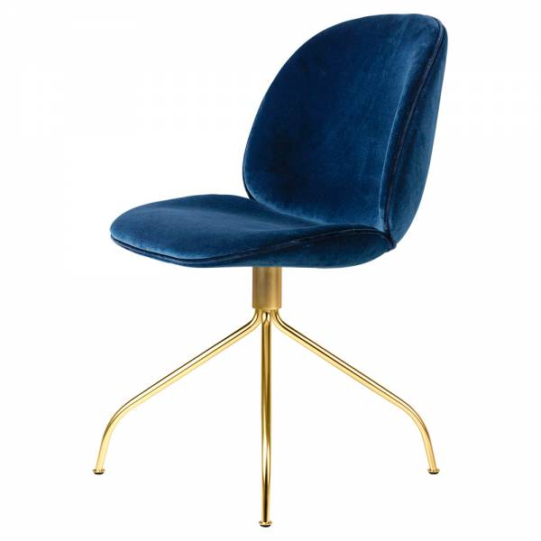 Beetle Meeting Chair - Blue Sapphire Velvet, Brass Swivel Base   Rouse Home