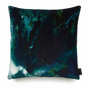 Beyond Nebulous Green & Blue Velvet Cushion