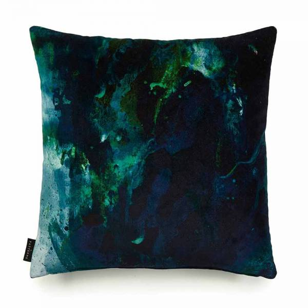 Beyond Nebulous Green & Blue Velvet Cushion
