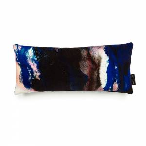 Beyond Nebulous Pink & Blue Cotton Velvet Cushion - Lumbar